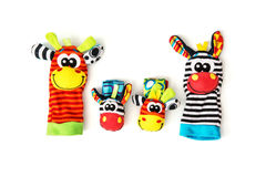 Colorful hand puppets and wrist pals, isolated Royalty Free Stock Photos