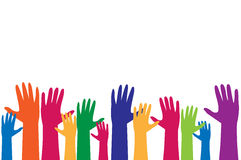 Colorful hand, raise up for vote concept Royalty Free Stock Image
