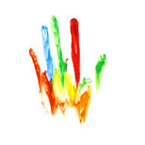 Colorful hand shape Stock Images