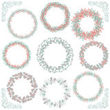Colorful Hand Sketched Rustic Frames, Borders. Collection of Colorful Artistic Hand Sketched Rustic Decorative Doodle Round Wreaths, Laurels, Borders and Frames Royalty Free Stock Photography