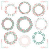 Colorful Hand Sketched Rustic Frames, Borders. Collection of Colorful Artistic Hand Sketched Rustic Decorative Doodle Round Wreaths, Laurels, Borders and Frames Royalty Free Stock Images