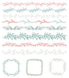Colorful Hand Sketched Seamless Borders, Frames Stock Images