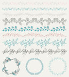 Colorful Hand Sketched Seamless Borders, Frames Royalty Free Stock Photos