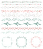 Colorful Hand Sketched Seamless Borders, Frames. Collection of Colorful Seamless Hand Sketched Artistic Rustic  Decorative Doodle Vintage Borders and Frames Stock Photo