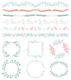 Colorful Hand Sketched Seamless Borders, Frames Stock Photography