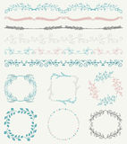 Colorful Hand Sketched Seamless Borders, Frames Royalty Free Stock Image