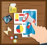 Colorful hand and smartphone concept digital marketing. Vector illustration Stock Photography