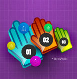 Colorful hand step options banner template Stock Image