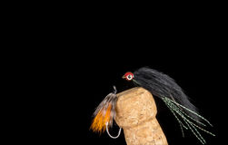 Colorful Hand Tied Fishing Flies Displayed on Champagne Cork  5 Royalty Free Stock Photos