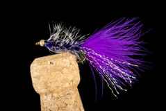 Colorful Hand Tied Fishing Flies Displayed on Champagne Cork  7 Royalty Free Stock Photos