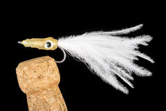 Colorful Hand Tied Fishing Flies Displayed on Champagne Cork  6 Royalty Free Stock Images