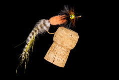 Colorful Hand Tied Fishing Flies Displayed on Champagne Cork  3 Royalty Free Stock Photography