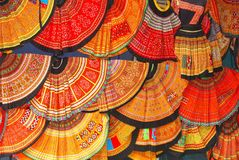 Colorful hand woven skirts market shop, Vietnam stock image