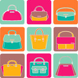Colorful handbags illustration on white background Stock Photos
