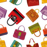 Colorful handbags Seamless pattern.Fashion illustration Royalty Free Stock Photos