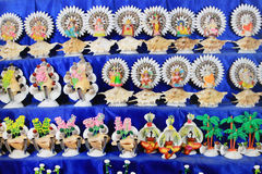 Colorful handcraft made by conch shell. Royalty Free Stock Images