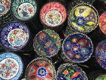 Colorful handcrafted bowls Royalty Free Stock Photography