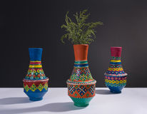 Colorful handcrafted pottery vases and green branches with harsh shadow Stock Image