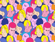 Colorful handdrawn style of crowd vector illustration. Colorful doodle of people  seamless pattern Stock Photos
