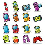 Colorful Handheld Electronics Icons. Simplified, colorful Icon set representing various electronic handheld items Royalty Free Stock Images