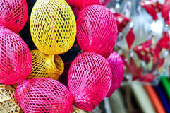Colorful Handicraft Basket. Coloful Handicraft Basket Made From Bamboo Or Rattan Royalty Free Stock Photos