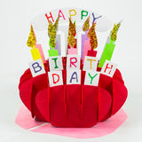 Colorful handicraft birthday cake Royalty Free Stock Photo