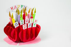 Colorful handicraft birthday cake Royalty Free Stock Images