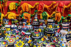 Colorful handicraft objects for sale Royalty Free Stock Image