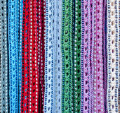 Colorful handicrafted belts Stock Photos