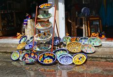 Colorful handicrafted mexican washbasins Royalty Free Stock Images