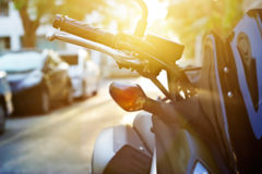 Colorful handlebar motorcycle in sunrise, soft focus and blur Royalty Free Stock Images