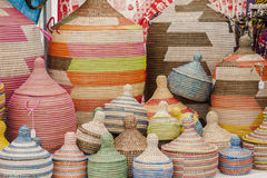 Colorful Handmade African baskets. Handmade African  artist baskets for sale-from extralarge to very small Stock Photography