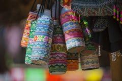 Colorful handmade bag in Chiang Rai. Thailand Stock Photos