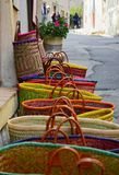Colorful handmade bags at local street market Stock Photo