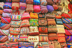 Colorful handmade bags, Peru Royalty Free Stock Photos