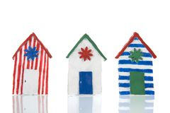 Colorful handmade beach cabins royalty free stock image