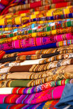 Colorful handmade blankets& tablecloths Royalty Free Stock Images