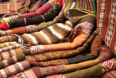 Colorful handmade blankets & tablecloths, Stock Photo