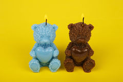 Colorful handmade candles in the shape of teddy-bear Royalty Free Stock Photo