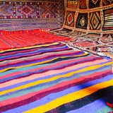 Moroccan carpets colours handmade atlas desert sahara royalty free stock images