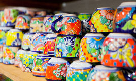 Colorful handmade ceramic cups Stock Photos