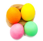 Colorful handmade decorated easter eggs Royalty Free Stock Image