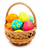 Colorful handmade easter eggs in the basket Royalty Free Stock Photography