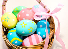 Colorful handmade easter eggs in the basket Royalty Free Stock Photo
