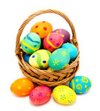 Colorful handmade easter eggs in the basket Stock Photography