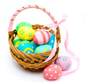 Colorful handmade easter eggs in the basket  Royalty Free Stock Image