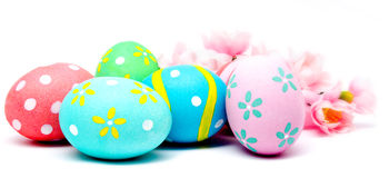 Colorful handmade easter eggs with flower isolated Stock Images