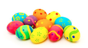 Colorful handmade easter eggs isolated on a white Royalty Free Stock Image