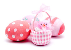 Colorful handmade easter eggs and pink chiken isolated Stock Images