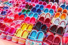 Colorful handmade fabric kid shoe of thailand tribesman Stock Image